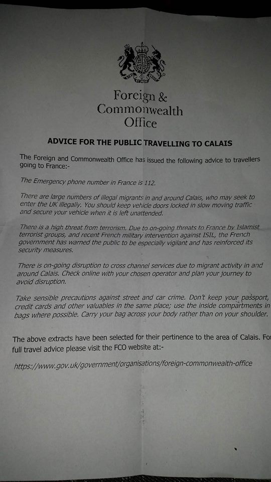 Picture of advice for those travelling to Calais, given to us at the Dover Port